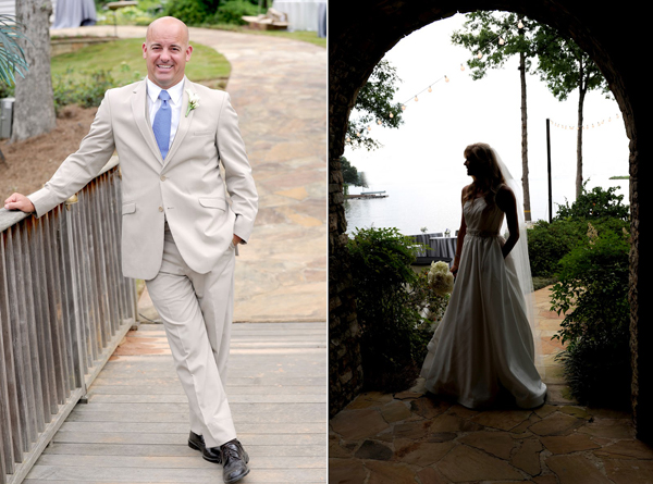 bride and groom at lake oconee