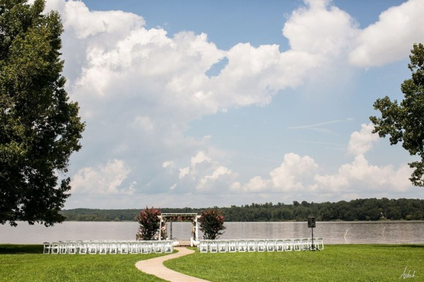 ceremony set up on lake oconee